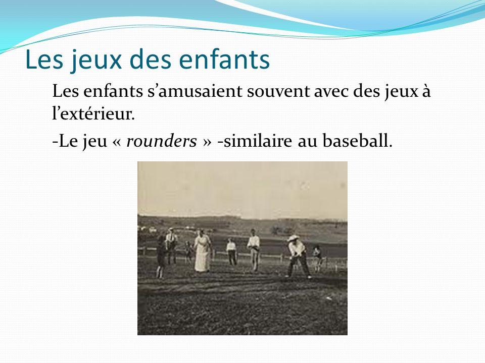 Les jeux des enfants Les enfants samusaient souvent avec des jeux à lextérieur. -Le jeu « rounders » -similaire au baseball.