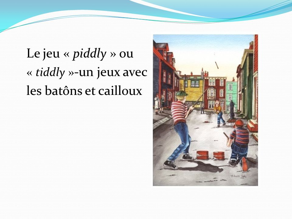 Le jeu « piddly » ou « tiddly » -un jeux avec les batôns et cailloux