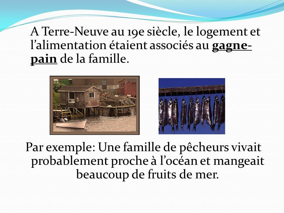 A Terre-Neuve au 19e siècle, le logement et lalimentation étaient associés au gagne- pain de la famille. Par exemple: Une famille de pêcheurs vivait p