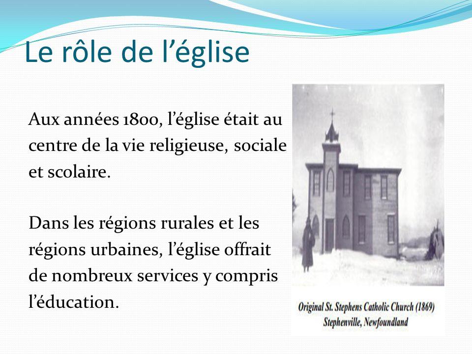 Le rôle de léglise Aux années 1800, léglise était au centre de la vie religieuse, sociale et scolaire. Dans les régions rurales et les régions urbaine