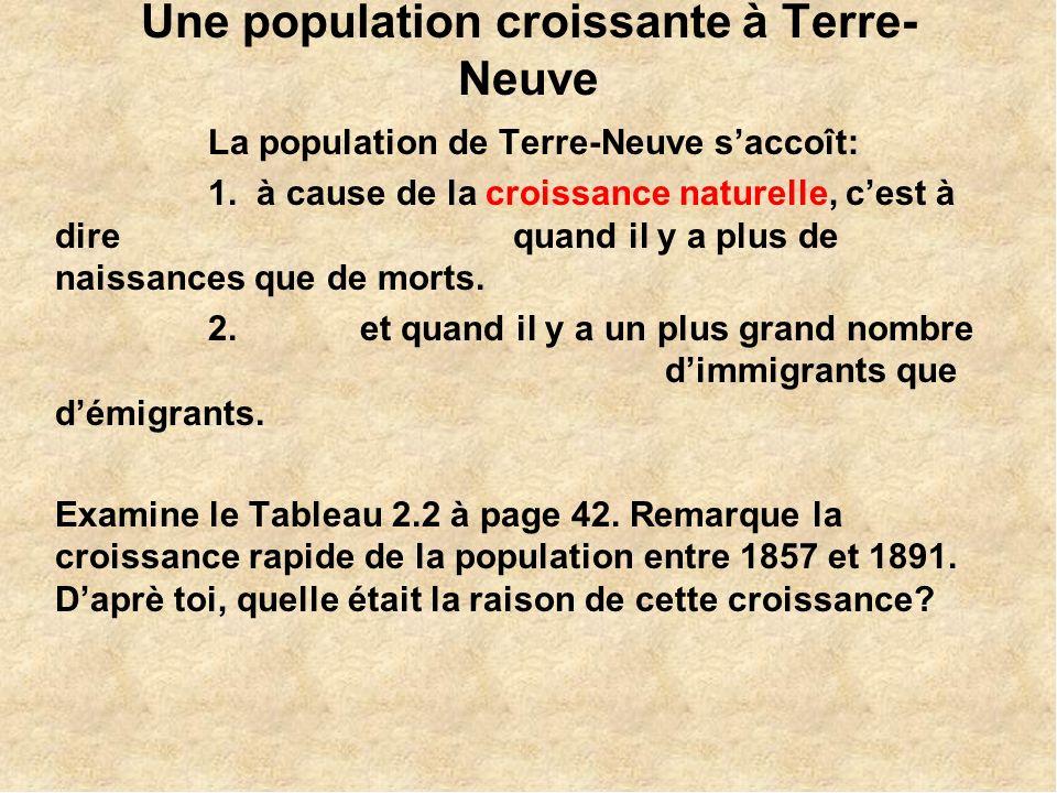 Une population croissante à Terre- Neuve La population de Terre-Neuve saccoît: 1.