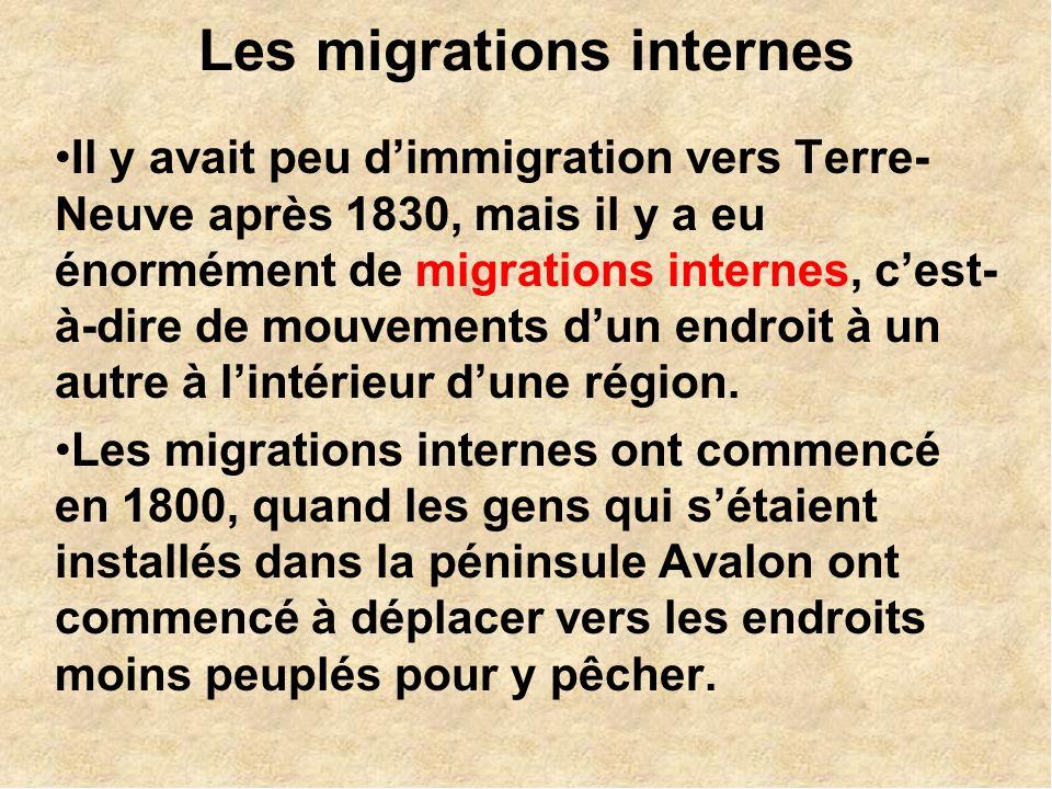 Les migrations internes Il y avait peu dimmigration vers Terre- Neuve après 1830, mais il y a eu énormément de migrations internes, cest- à-dire de mouvements dun endroit à un autre à lintérieur dune région.