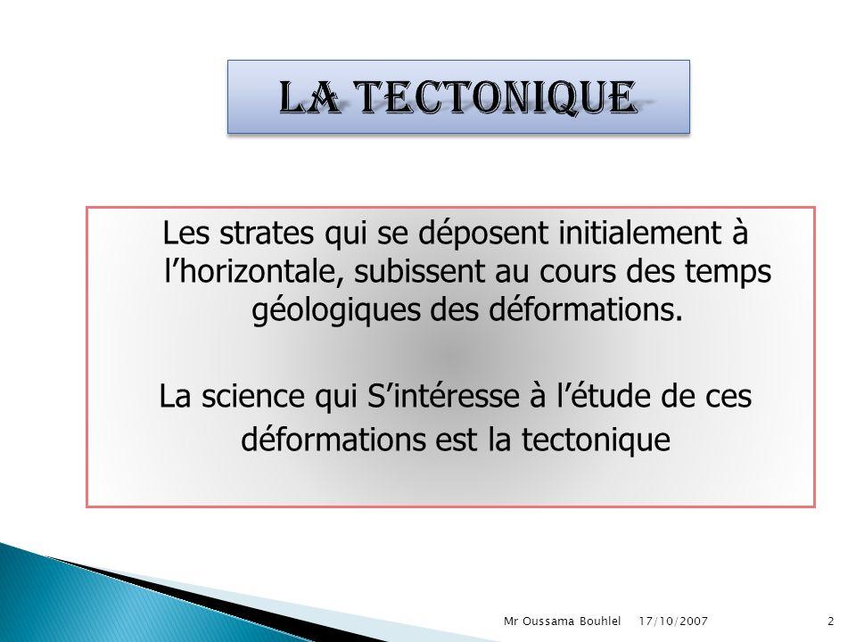 Les strates qui se déposent initialement à lhorizontale, subissent au cours des temps géologiques des déformations.