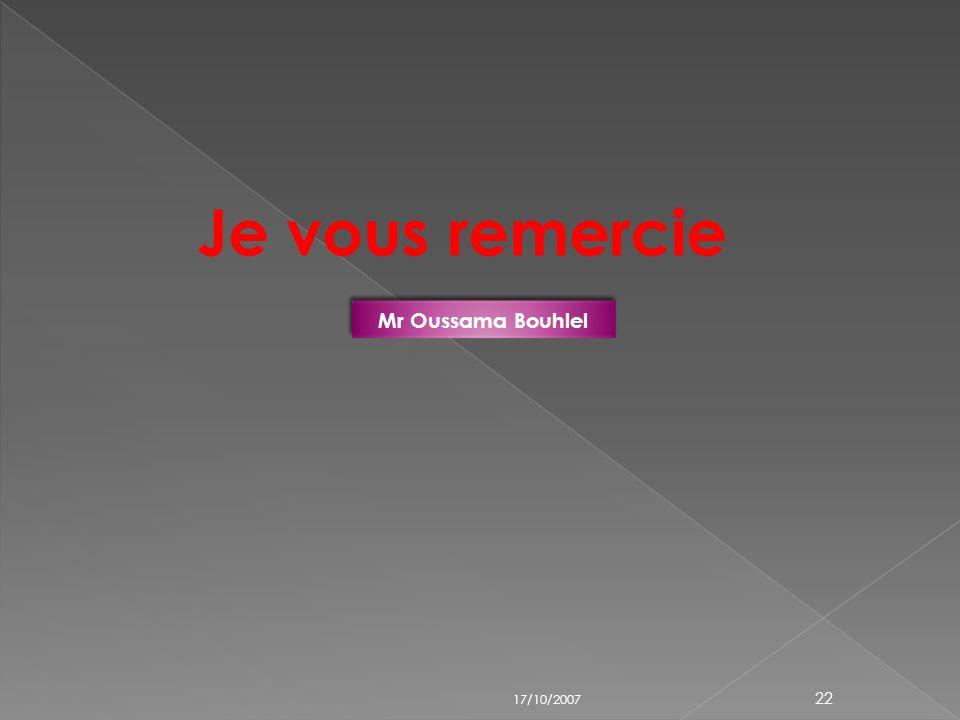 17/10/2007 Mr Oussama Bouhlel 21 Suivant