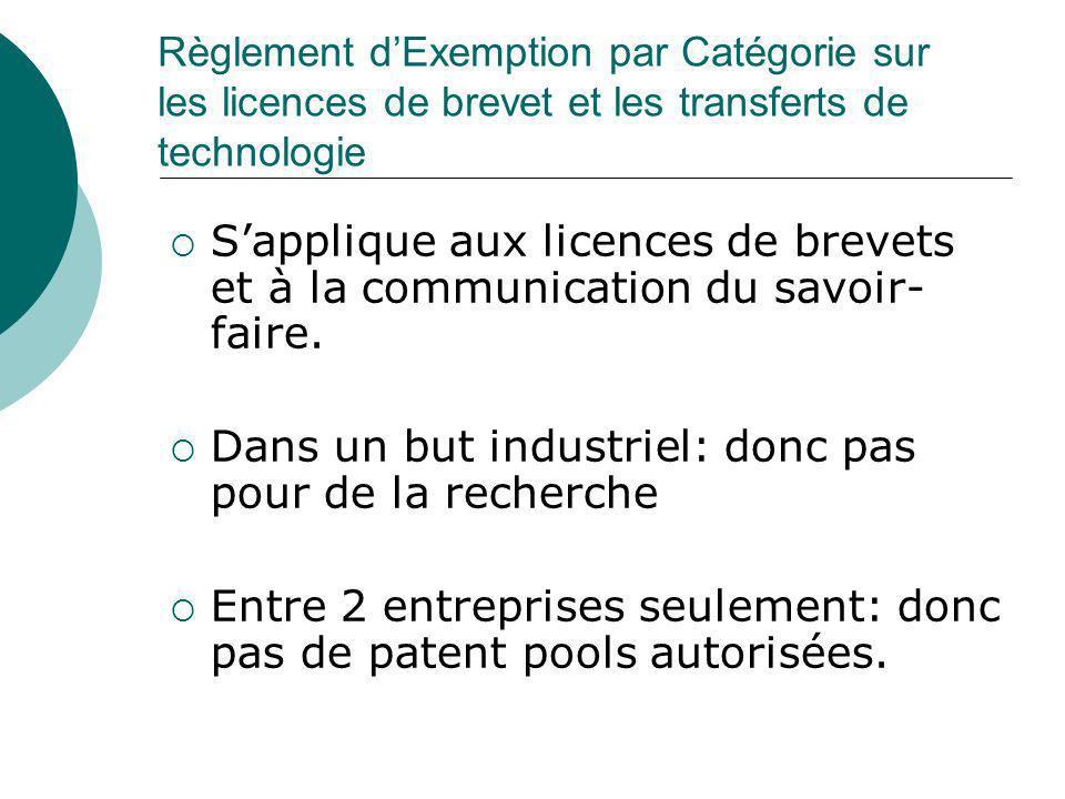 Règlement dExemption par Catégorie sur les licences de brevet et les transferts de technologie Sapplique aux licences de brevets et à la communication