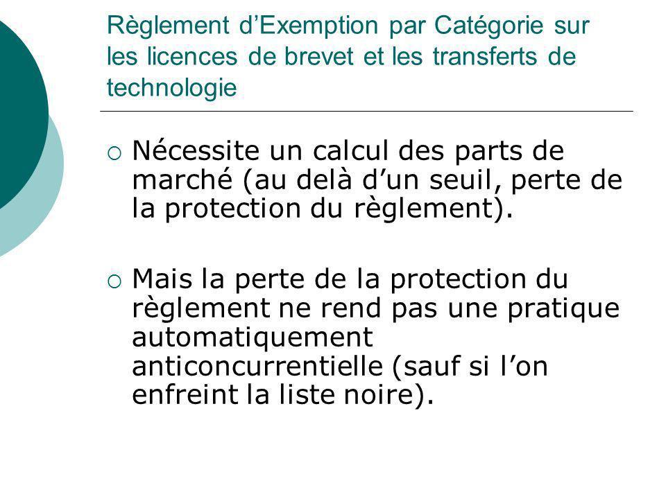 Règlement dExemption par Catégorie sur les licences de brevet et les transferts de technologie Nécessite un calcul des parts de marché (au delà dun se