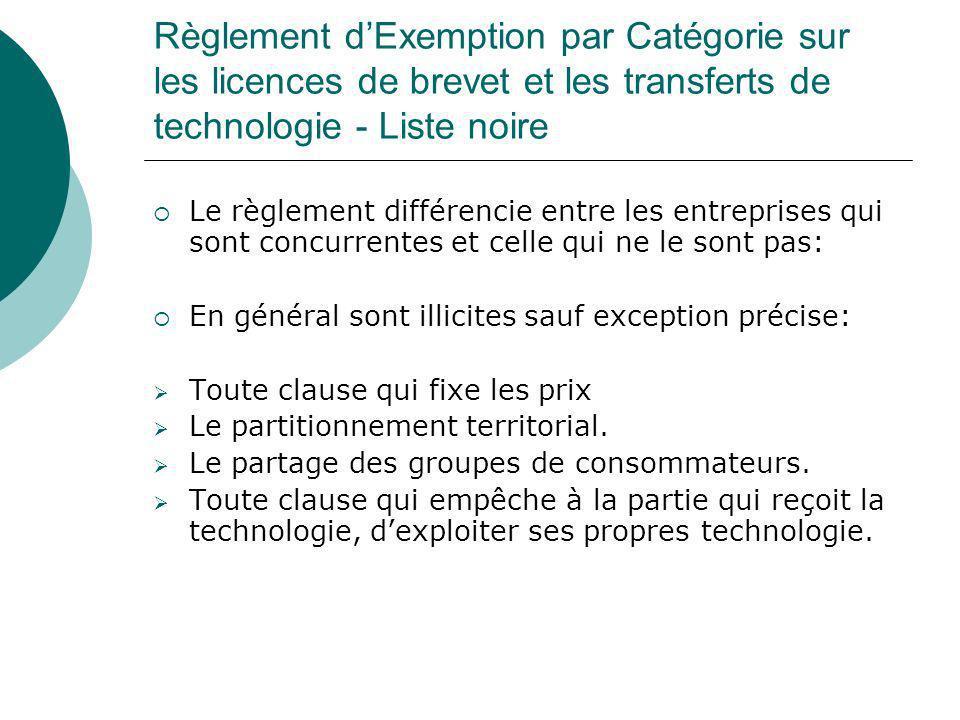 Règlement dExemption par Catégorie sur les licences de brevet et les transferts de technologie - Liste noire Le règlement différencie entre les entrep