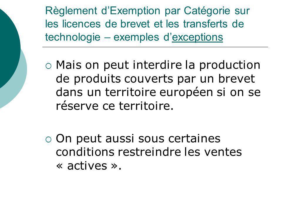 Règlement dExemption par Catégorie sur les licences de brevet et les transferts de technologie – exemples dexceptions Mais on peut interdire la produc