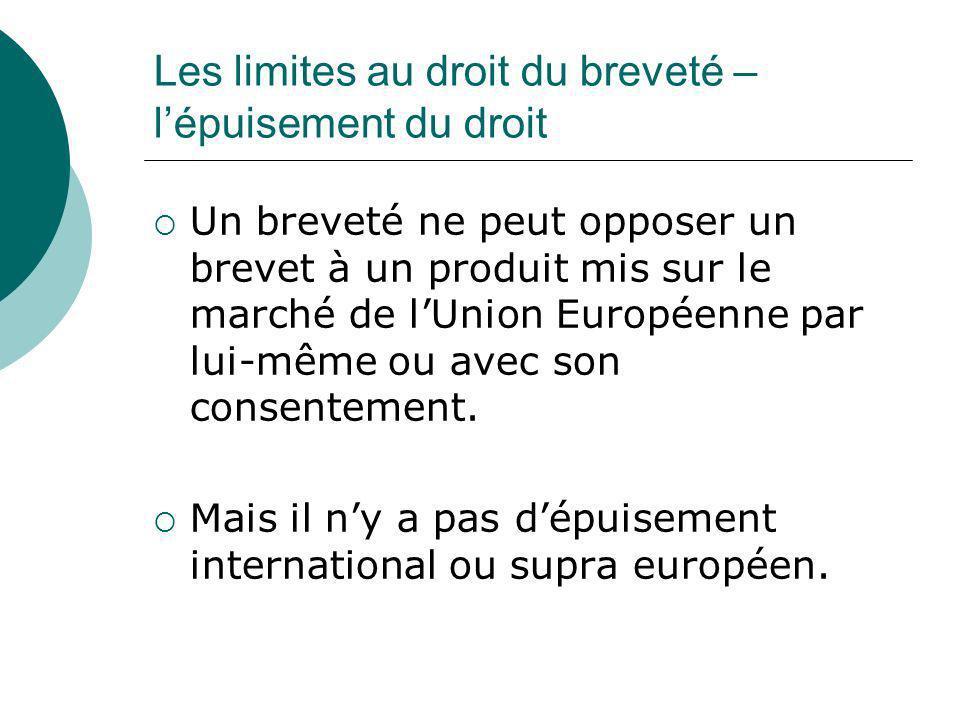 Les limites au droit du breveté – lépuisement du droit Un breveté ne peut opposer un brevet à un produit mis sur le marché de lUnion Européenne par lu