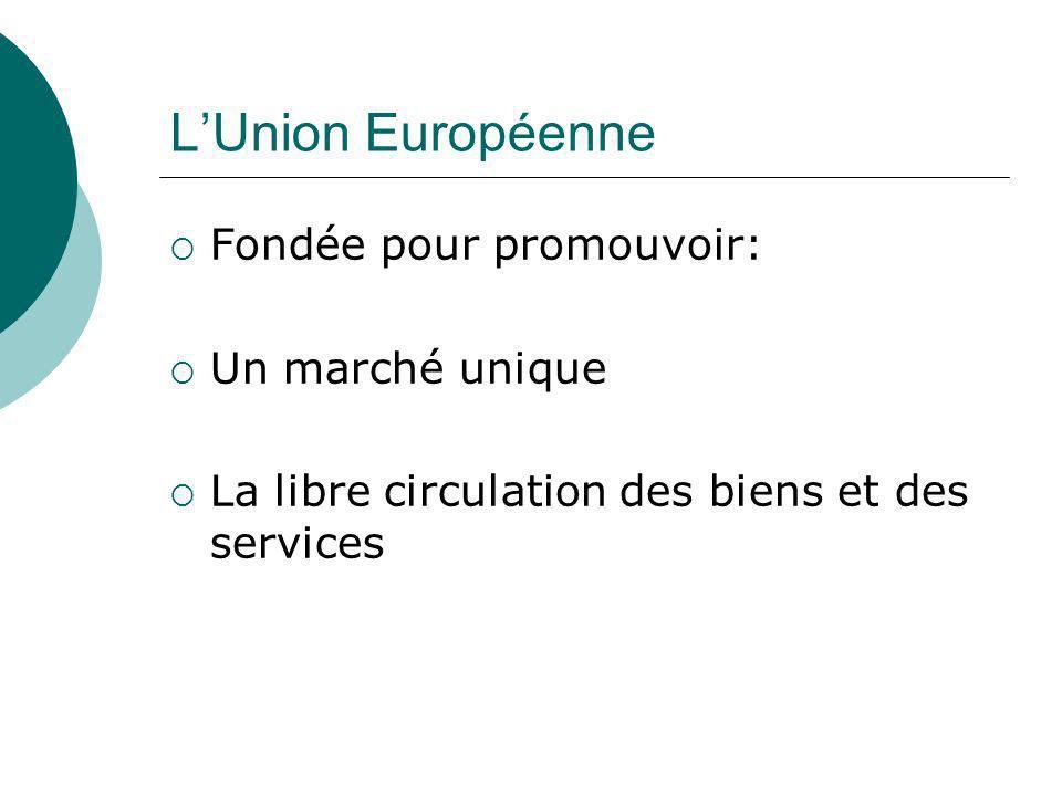 LUnion Européenne Fondée pour promouvoir: Un marché unique La libre circulation des biens et des services