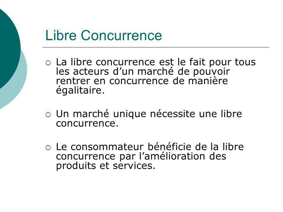 Libre Concurrence La libre concurrence est le fait pour tous les acteurs dun marché de pouvoir rentrer en concurrence de manière égalitaire. Un marché