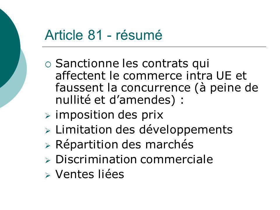 Article 81 - résumé Sanctionne les contrats qui affectent le commerce intra UE et faussent la concurrence (à peine de nullité et damendes) : impositio