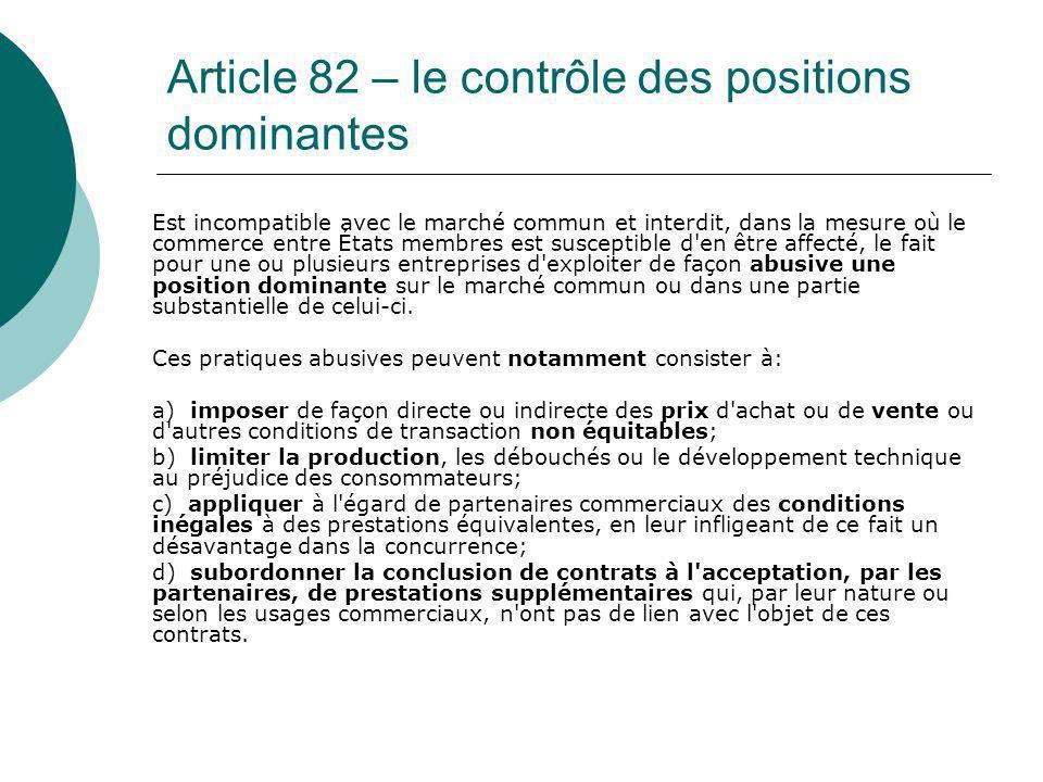 Article 82 – le contrôle des positions dominantes Est incompatible avec le marché commun et interdit, dans la mesure où le commerce entre États membre