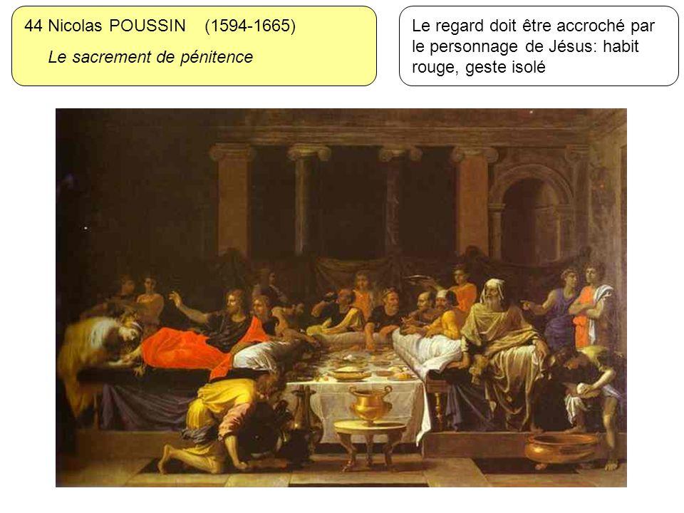 44 Nicolas POUSSIN (1594-1665) Le sacrement de pénitence Le regard doit être accroché par le personnage de Jésus: habit rouge, geste isolé