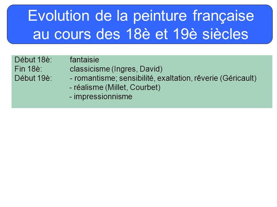 Début 18è:fantaisie Fin 18è:classicisme (Ingres, David) Début 19è:- romantisme; sensibilité, exaltation, rêverie (Géricault) - réalisme (Millet, Courb