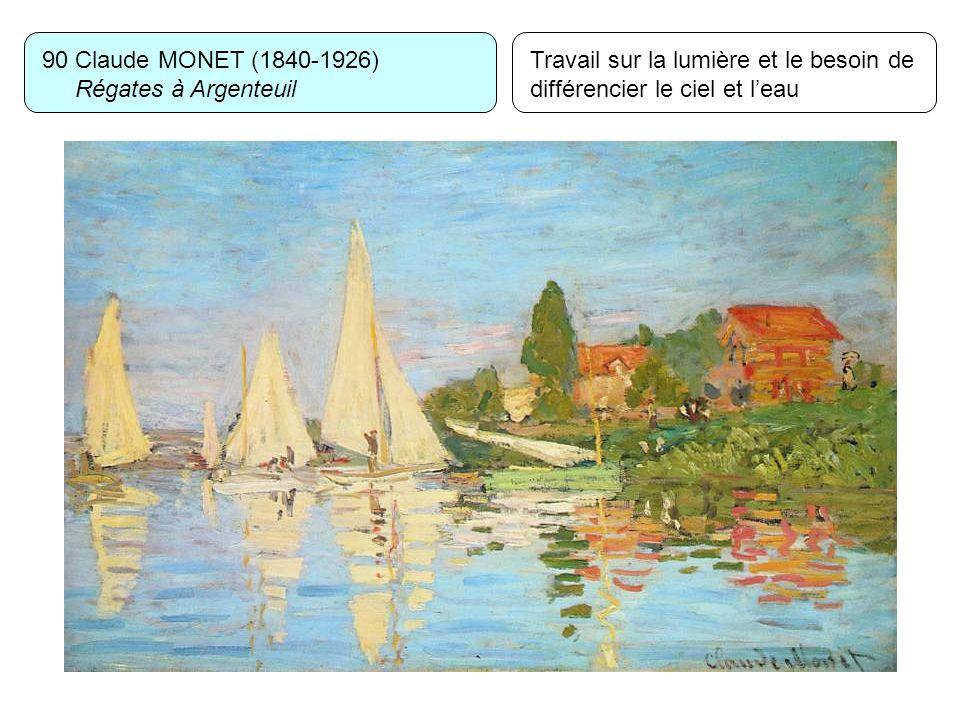 90 Claude MONET (1840-1926) Régates à Argenteuil Travail sur la lumière et le besoin de différencier le ciel et leau