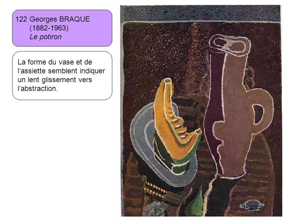 122 Georges BRAQUE (1882-1963) Le potiron La forme du vase et de lassiette semblent indiquer un lent glissement vers labstraction.