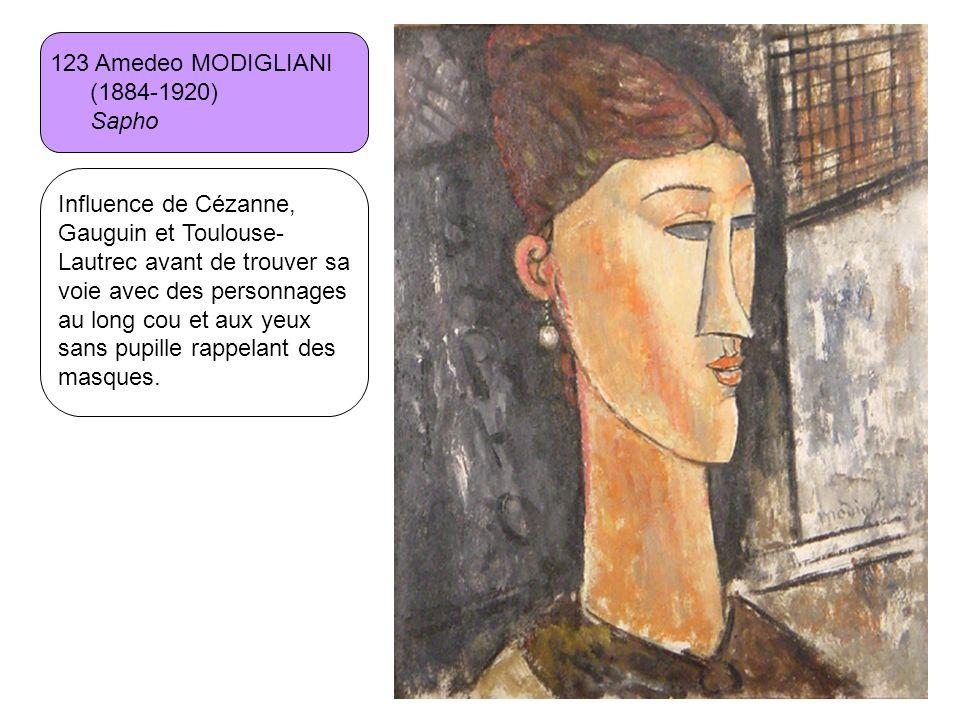 123 Amedeo MODIGLIANI (1884-1920) Sapho Influence de Cézanne, Gauguin et Toulouse- Lautrec avant de trouver sa voie avec des personnages au long cou e