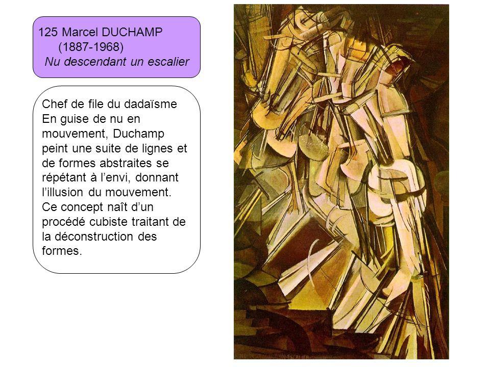 125 Marcel DUCHAMP (1887-1968) Nu descendant un escalier Chef de file du dadaïsme En guise de nu en mouvement, Duchamp peint une suite de lignes et de