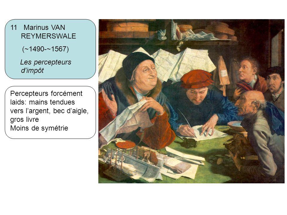 11 Marinus VAN REYMERSWALE (~1490-~1567) Les percepteurs dimpôt Percepteurs forcément laids: mains tendues vers largent, bec daigle, gros livre Moins