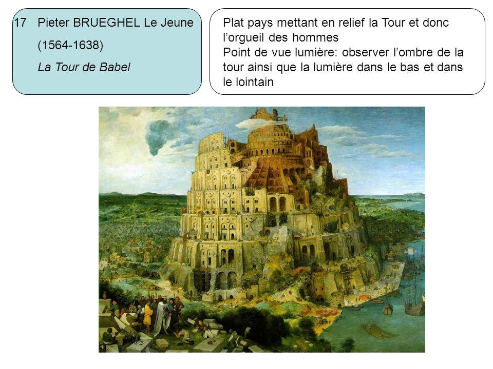 17 Pieter BRUEGHEL Le Jeune (1564-1638) La Tour de Babel Plat pays mettant en relief la Tour et donc lorgueil des hommes Point de vue lumière: observe