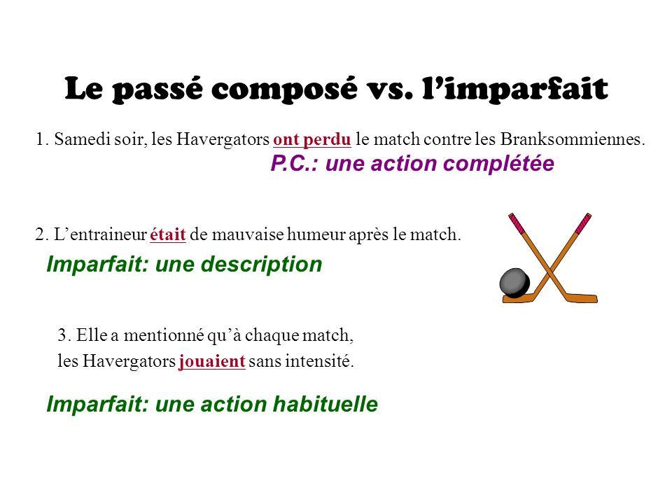 Le passé composé vs.limparfait 1.