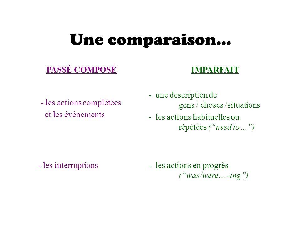 - les actions complétées et les événements Une comparaison...