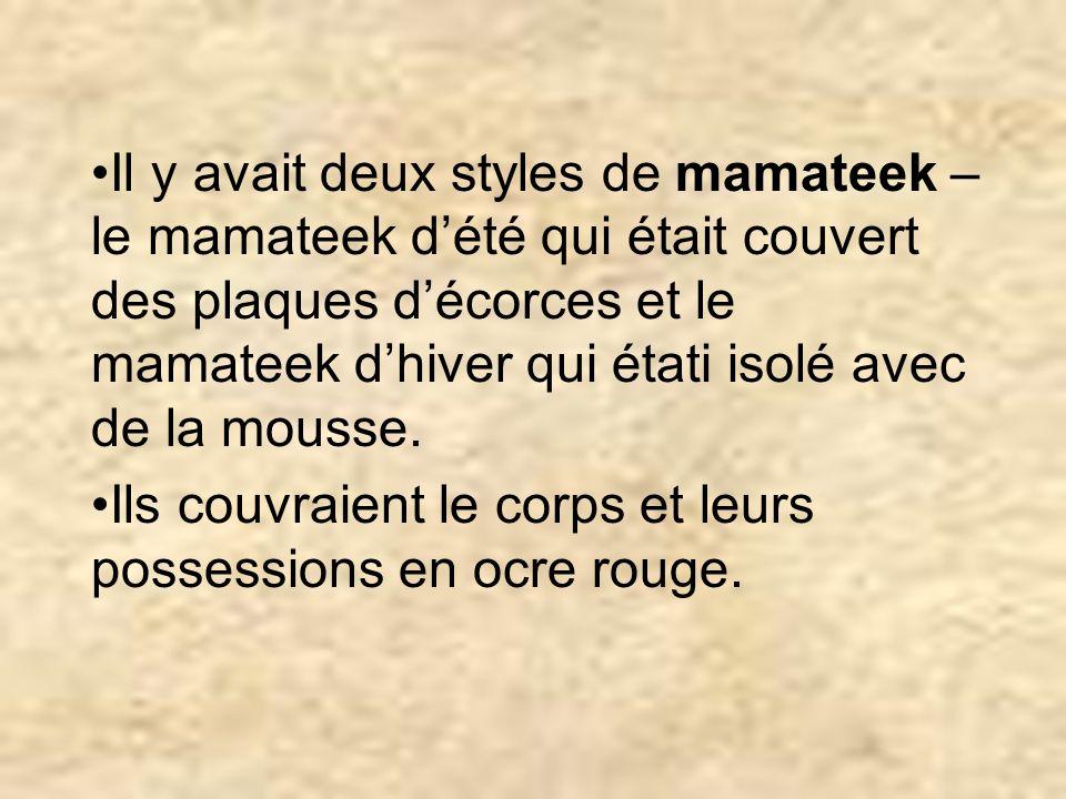 Il y avait deux styles de mamateek – le mamateek dété qui était couvert des plaques décorces et le mamateek dhiver qui étati isolé avec de la mousse.