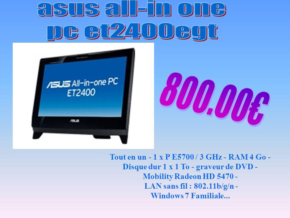Tout en un - 1 x P E5700 / 3 GHz - RAM 4 Go - Disque dur 1 x 1 To - graveur de DVD - Mobility Radeon HD 5470 - LAN sans fil : 802.11b/g/n - Windows 7 Familiale...