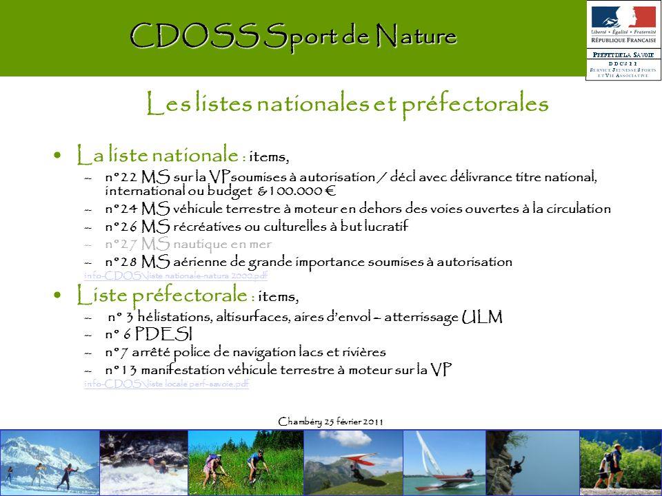 Chambéry 25 février 2011 La liste nationale : items, –n°22 MS sur la VPsoumises à autorisation / décl avec délivrance titre national, international ou