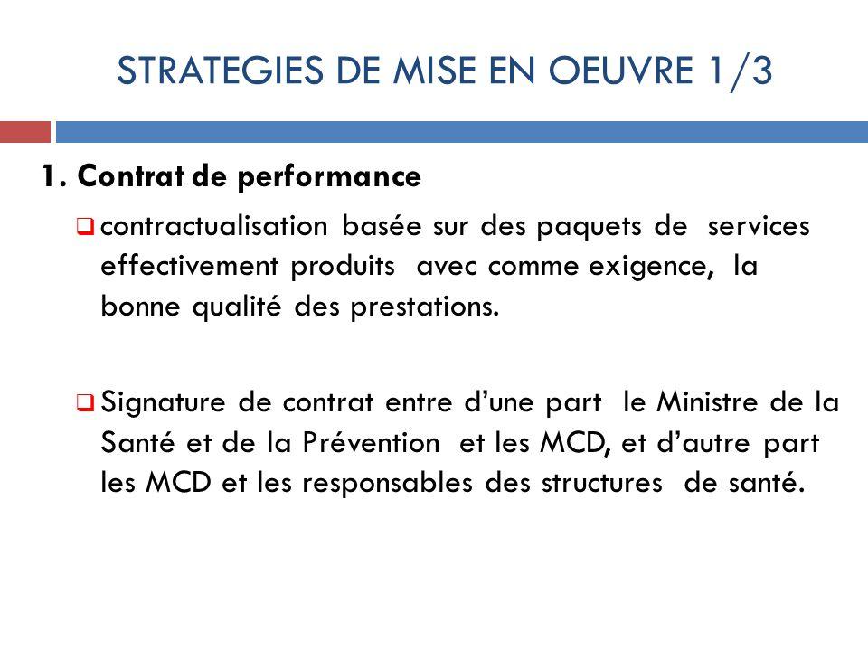STRATEGIES DE MISE EN OEUVRE 1/3 1. Contrat de performance contractualisation basée sur des paquets de services effectivement produits avec comme exig