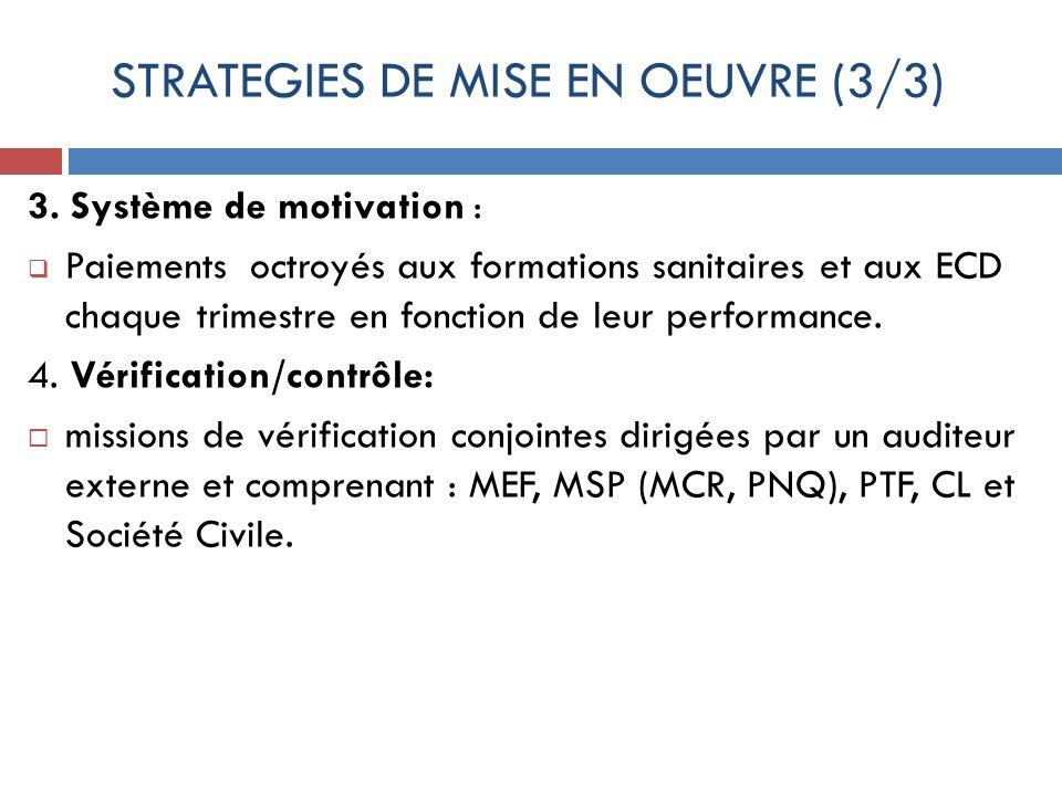 STRATEGIES DE MISE EN OEUVRE (3/3) 3. Système de motivation : Paiements octroyés aux formations sanitaires et aux ECD chaque trimestre en fonction de