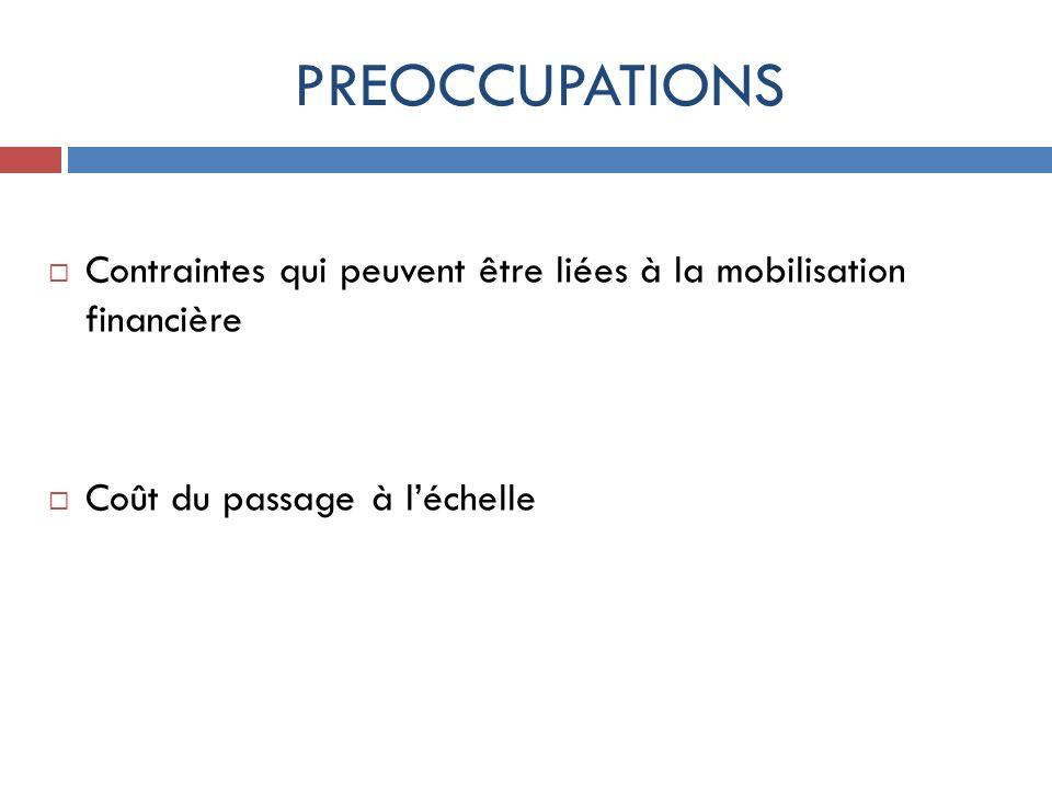 PREOCCUPATIONS Contraintes qui peuvent être liées à la mobilisation financière Coût du passage à léchelle