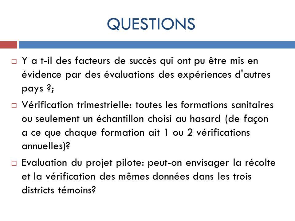 QUESTIONS Y a t-il des facteurs de succès qui ont pu être mis en évidence par des évaluations des expériences d'autres pays ?; Vérification trimestrie