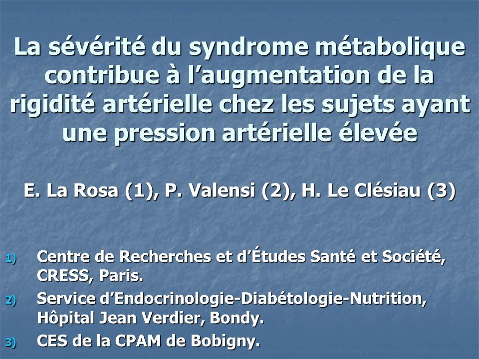 Syndrome métabolique La pression pulsée, définie para la différence entre la pression artérielle systolique et la diastolique, peut être considérée comme un bon témoin de la rigidité artérielle.