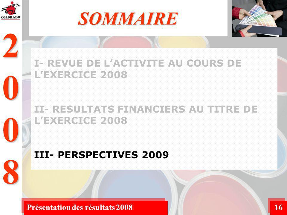 2008 Présentation des résultats 200816 SOMMAIRE I- REVUE DE LACTIVITE AU COURS DE LEXERCICE 2008 II- RESULTATS FINANCIERS AU TITRE DE LEXERCICE 2008 III- PERSPECTIVES 2009