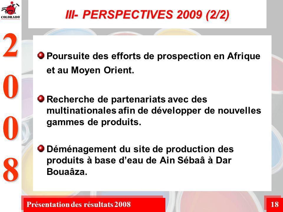 2008 Présentation des résultats 200818 III- PERSPECTIVES 2009 (2/2) Poursuite des efforts de prospection en Afrique et au Moyen Orient.