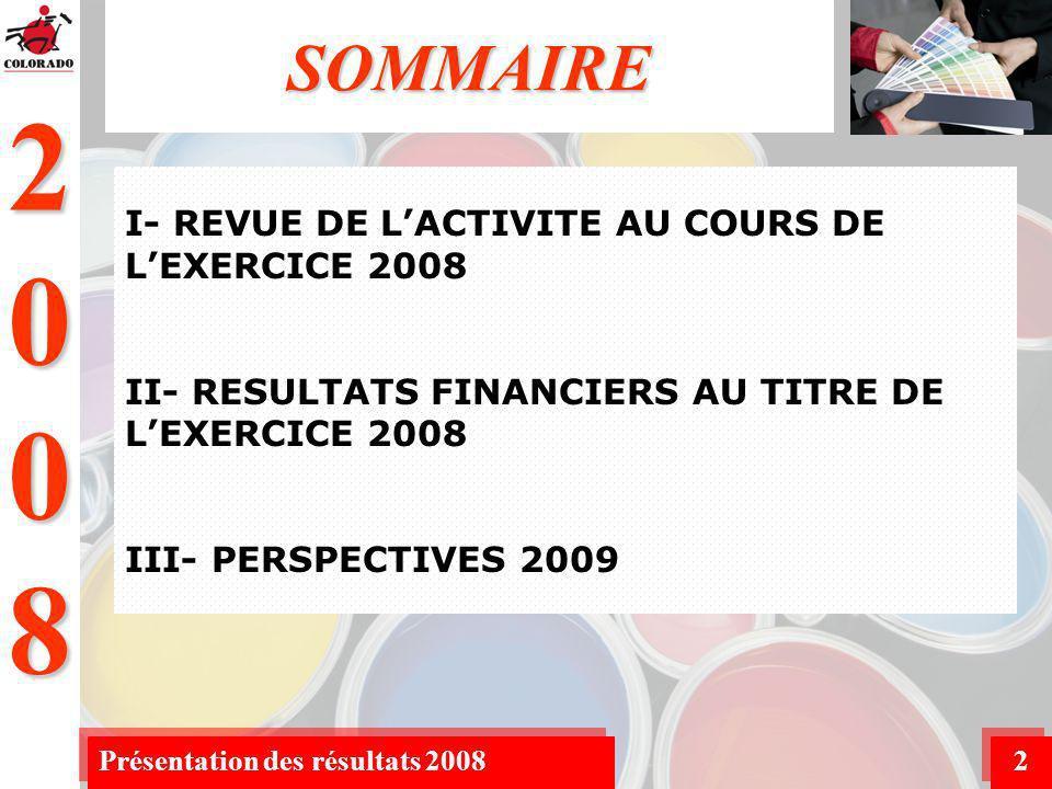 2008 Présentation des résultats 20082 SOMMAIRE I- REVUE DE LACTIVITE AU COURS DE LEXERCICE 2008 II- RESULTATS FINANCIERS AU TITRE DE LEXERCICE 2008 III- PERSPECTIVES 2009