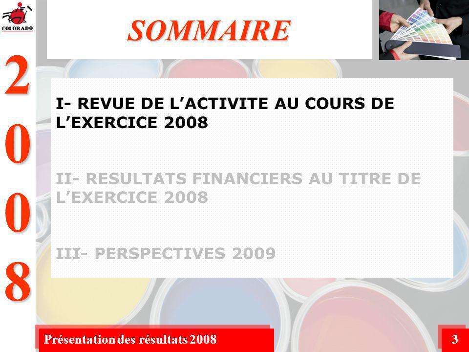 2008 Présentation des résultats 200814 BILAN RESUME AU 31/12/2008 (2/3) Les dépenses dinvestissement sont conformes aux prévisions et concernent principalement le nouveau site de Dar Bouaâza.