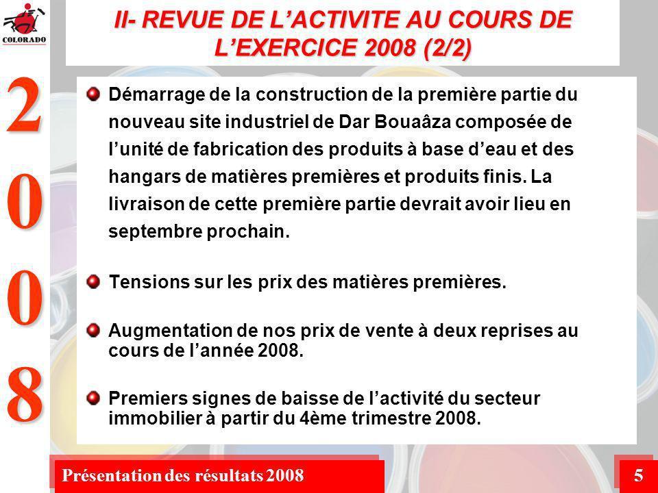 2008 Présentation des résultats 20085 Démarrage de la construction de la première partie du nouveau site industriel de Dar Bouaâza composée de lunité de fabrication des produits à base deau et des hangars de matières premières et produits finis.