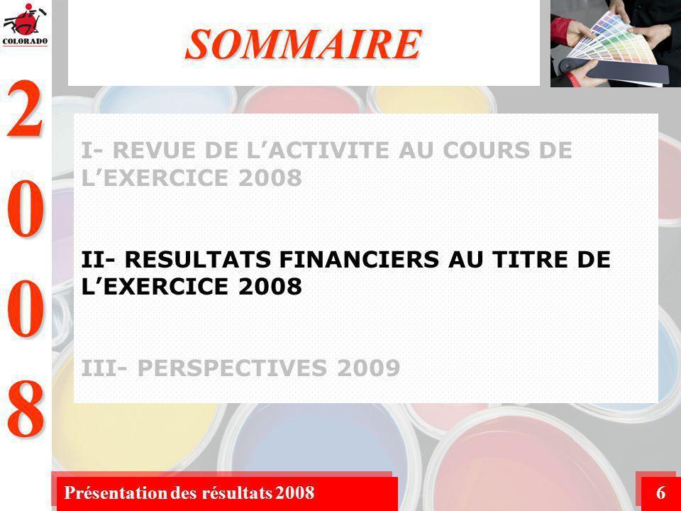 2008 Présentation des résultats 20087 Analyse du Compte de Produits & Charge (C.P.C) Analyse du Bilan II- RESULTATS FINANCIERS AU TITRE DE LEXERCICE 2008