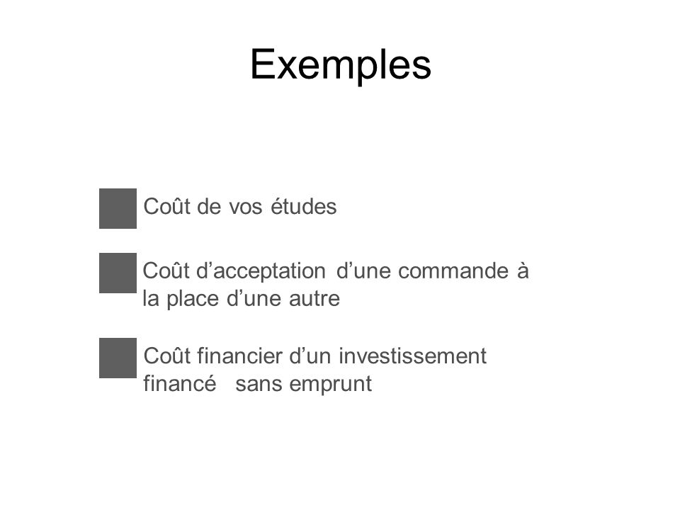 Exemples Coût de vos études Coût dacceptation dune commande à la place dune autre Coût financier dun investissement financé sans emprunt