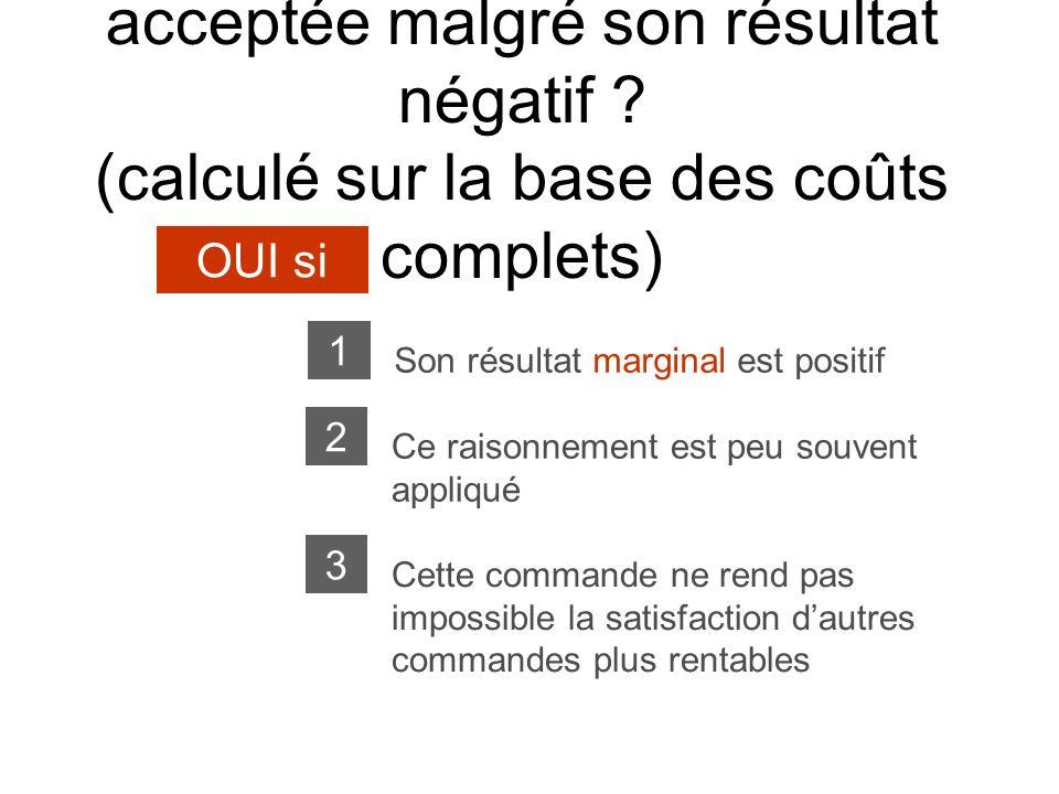Une solution peut-elle être acceptée malgré son résultat négatif ? (calculé sur la base des coûts complets) OUI si Son résultat marginal est positif 1
