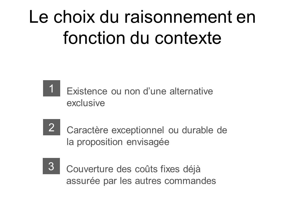 Le choix du raisonnement en fonction du contexte Existence ou non dune alternative exclusive 1 Caractère exceptionnel ou durable de la proposition env