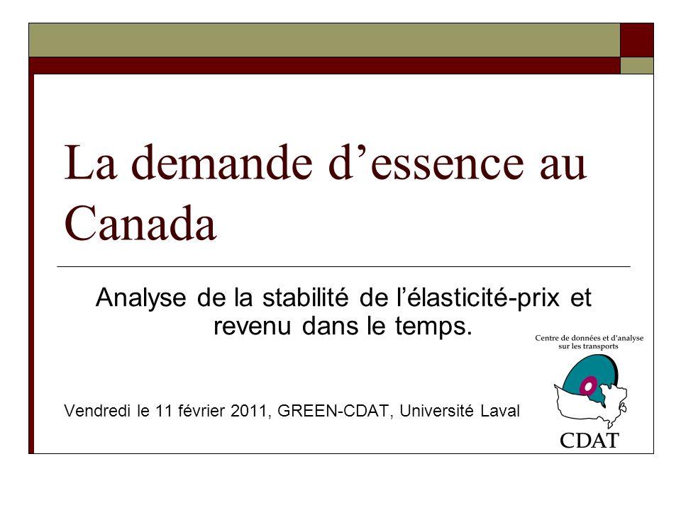 La demande dessence au Canada Analyse de la stabilité de lélasticité-prix et revenu dans le temps.