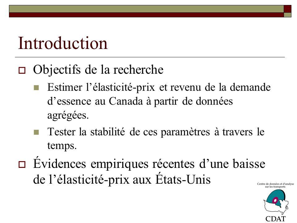 Introduction Importances de ces paramètres Prévoir lévolution de la demande dessence (ainsi que des émissions de GES); Analyser limpact de politiques publiques (par exemple, taxe sur le carbone); Prévoir lévolution des recettes fiscales ( 2.5% des revenus du gouvernement fédéral en 2005).