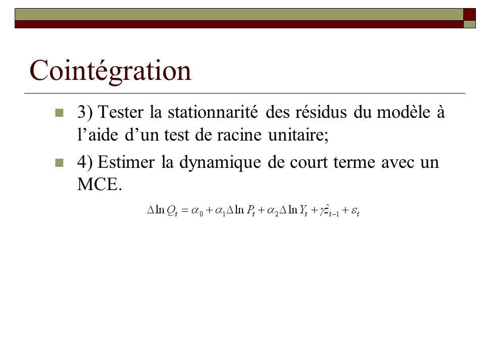 Cointégration 3) Tester la stationnarité des résidus du modèle à laide dun test de racine unitaire; 4) Estimer la dynamique de court terme avec un MCE.