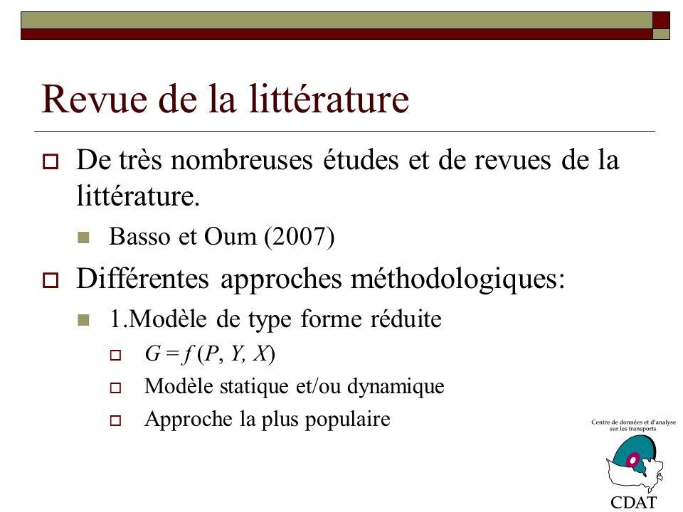 Revue de la littérature De très nombreuses études et de revues de la littérature.