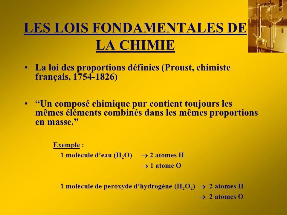 LES LOIS FONDAMENTALES DE LA CHIMIE La loi des proportions définies (Proust, chimiste français, 1754-1826) Un composé chimique pur contient toujours l