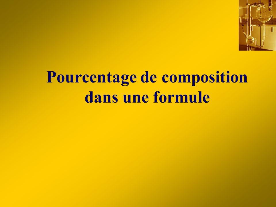Pourcentage de composition dans une formule